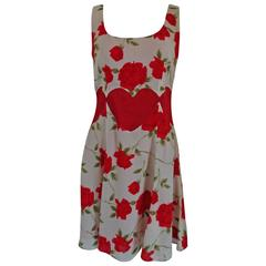 Moschino Cheap and Chic White Red Flowers Heart Dress