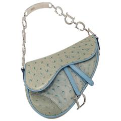 Christian Dior Pastel Blue 'Saddle' Bag in Ostrich with Rhinestone CD Hardware