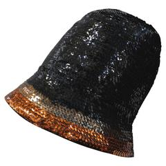1970's Yves Saint Laurent Sequin Cloche Hat