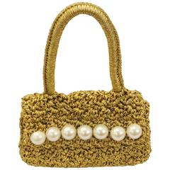 1990s Carrie Forbes Gold Crochet Mini Bag