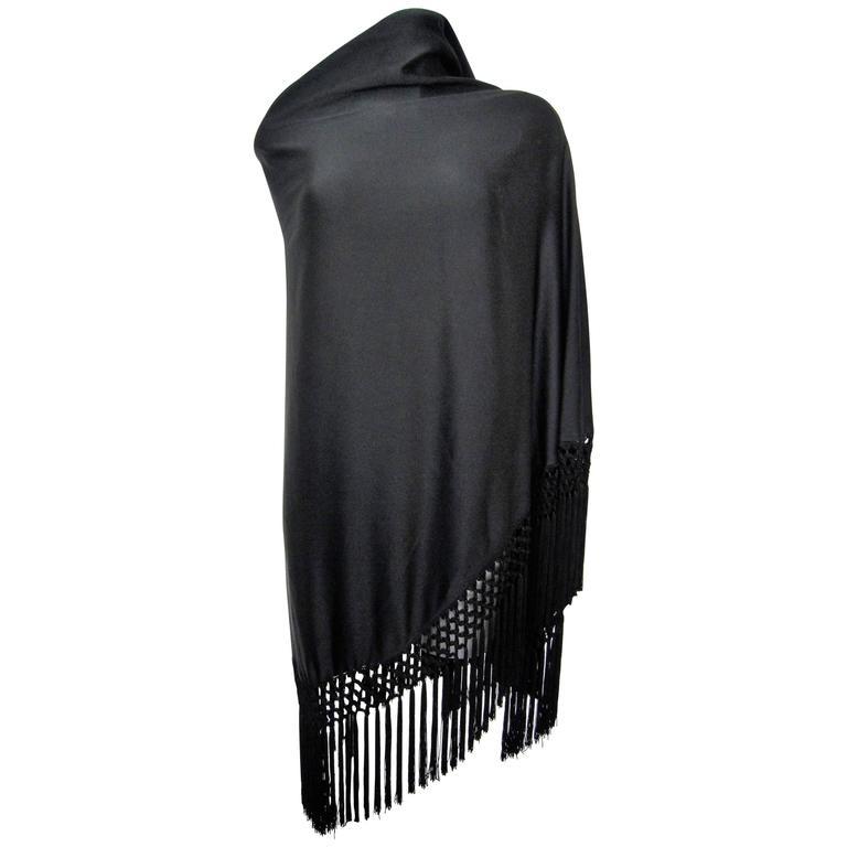 Vintage black fringed shawl  1