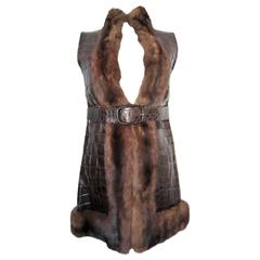 Valentino Couture crocodile and mink waistcoat