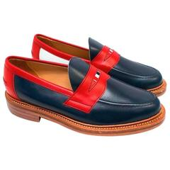 Red and Navy Leather Loafers