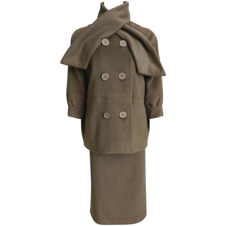 Nina Ricci 1960's Brown Cashmere Skirt Suit For Sale