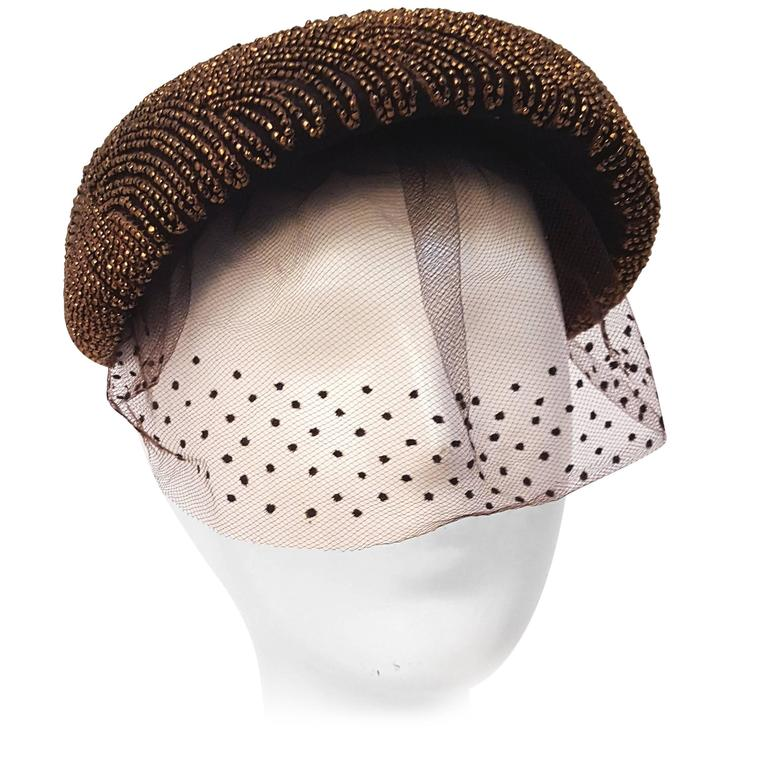 40s/50s I. Magnin Brown Hand Beaded Hat with Decorated Veil