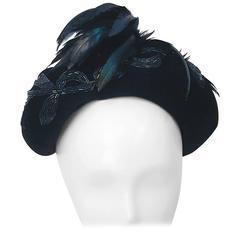 40s Beaded Velvet Hat