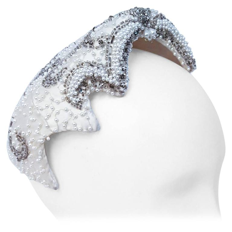 50s Beaded White Satin Hat For Sale