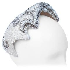 50s Beaded White Satin Hat
