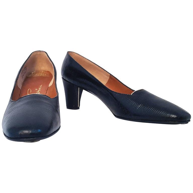 60s Black Pressed Leather Low Heel