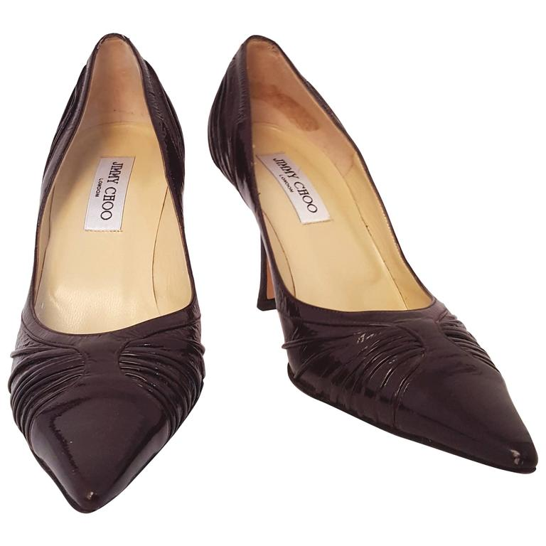 Jimmy Choo Espresso Patent Leather Heels For Sale