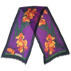 80s Flora Kung Printed Silk Chiffon Crepe Scarf