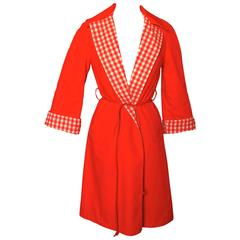 Reversible Tomato Red Gingham Check Rain Jacket with Leather Belt Sz M 70s