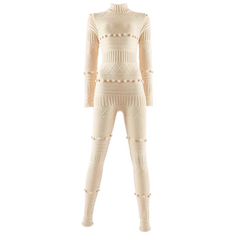 Courreges Autumn-Winter 1994 cream aran knit wool jumpsuit 1