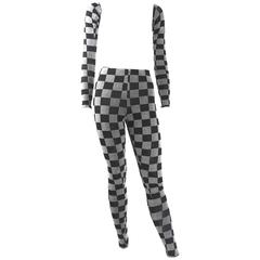 Maison Margiela White Label Checker Board Leggings and Arm Covers