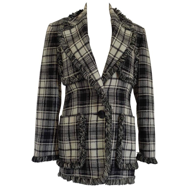 Oaks by Gianfranco Ferre Black & White Wool Jacket For Sale