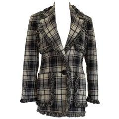 Oaks by Gianfranco Ferre Black & White Wool Jacket