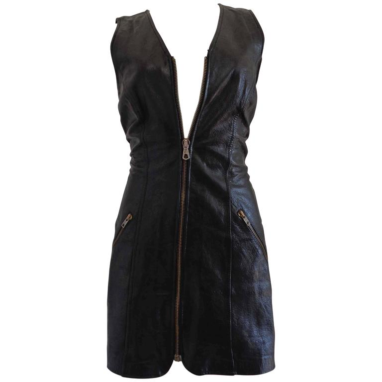 Moschino Cheap & Chic Black Leather Dress For Sale
