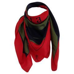 Roberta di Camerino Red Green Silk Foulard Scarf