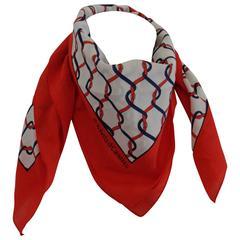 Roberta di Camerino Red white Blu silk Scarf
