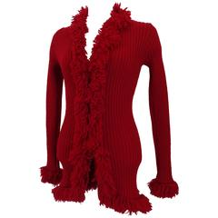Yves Saint Laurent Tricot Red Cardigan Sweater