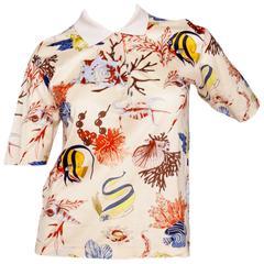 A 1980s Hermès Printed Cotton Pole Neck T-shirt (TIL REP)