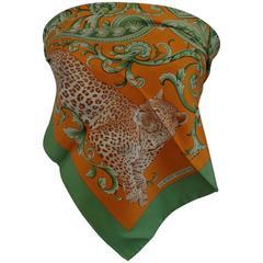 Beppe Spadacini Orange Green Tiger Silk Scarf