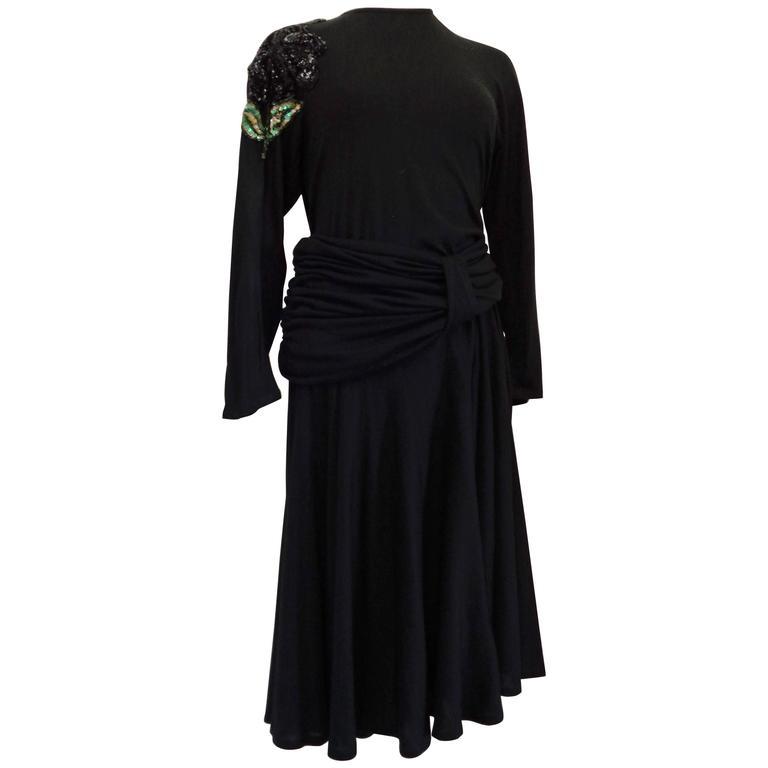 Salvatore Ferragamo Black Embellished sequins Dress