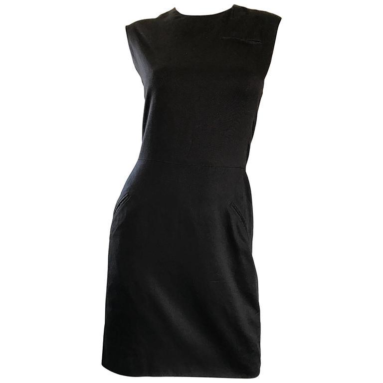 38e1df23a7169 1990s Stephen Sprouse Vintage 90s Classic Cotton Little Black Dress Size  Medium For Sale