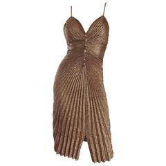 1970s Vintage Samir Sexy Gold Bronze Studio 54 Pleated Metallic Disco 70s Dress