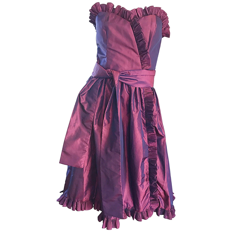 Vintage 80s Victor Costa Neiman Marcus Purple Metallic Silk Taffeta Dress + Belt