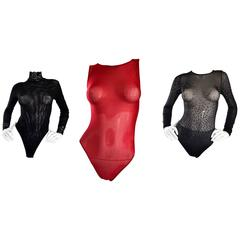 Lot of 3 Brand New Wolford & Italian Black, Red, and Silver Semi Sheer Bodysuits