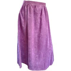 1970s Bill Blass Purple Lilac Lavender Ultrasuede Vintage 70s Midi Full Skirt