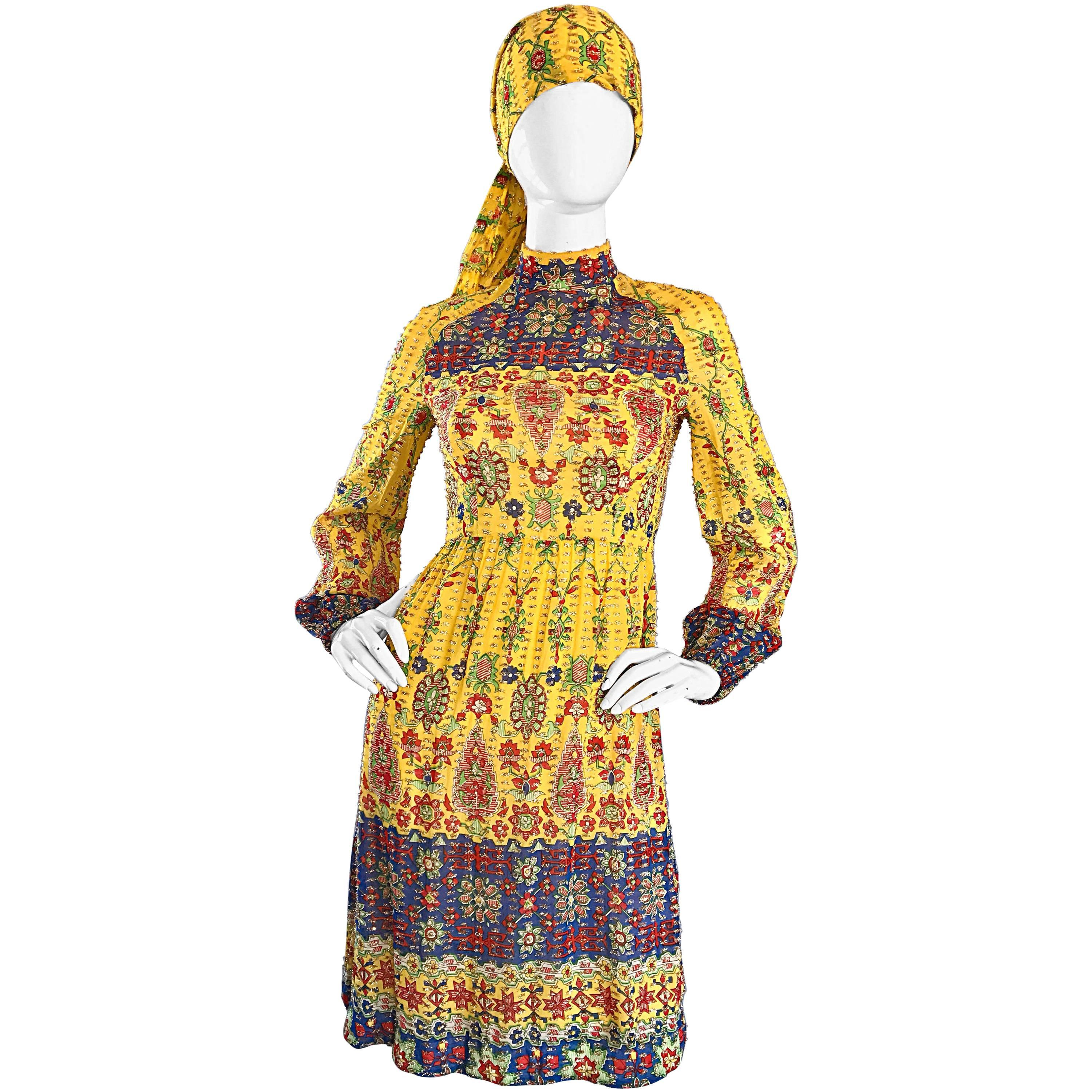 Amazing Vintage Rodrigues 1970s Yellow Silk 70s Dress and Head Scarf / Belt