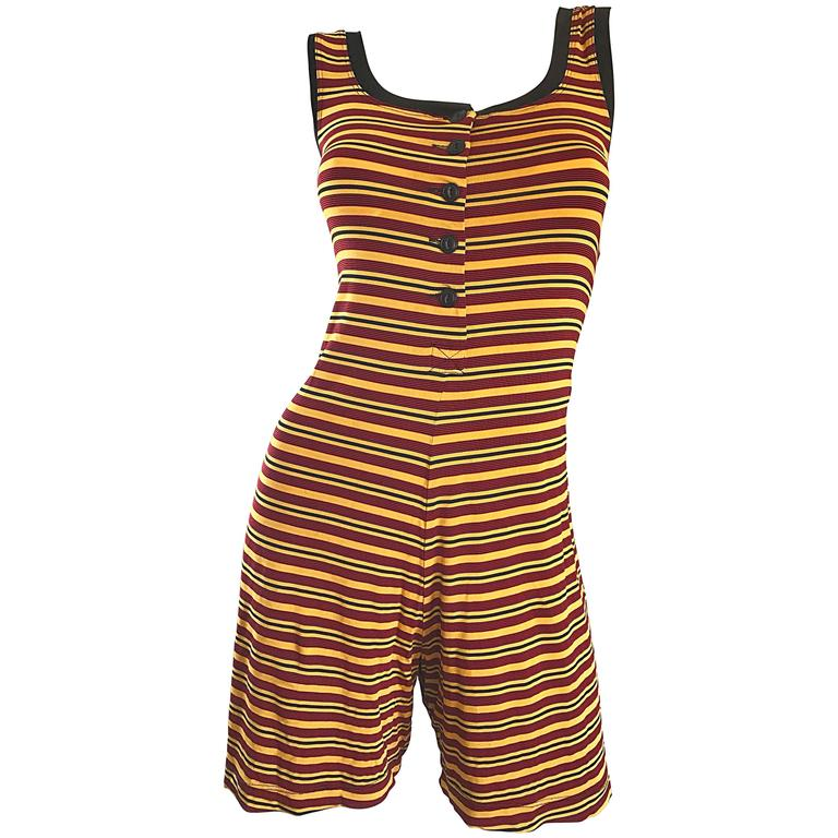 Vintage Betsey Johnson 1920s Inspired 1990s Yellow And Maroon Striped 90s Romper For