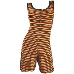 Vintage Betsey Johnson 1920s Inspired 1990s Yellow and Maroon Striped 90s Romper