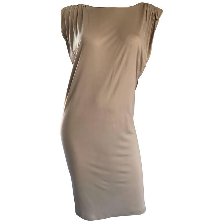 New Lanvin Alber Elbaz Taupe Strong Shoulder Taupe Silk Avant Garde Dress NWT
