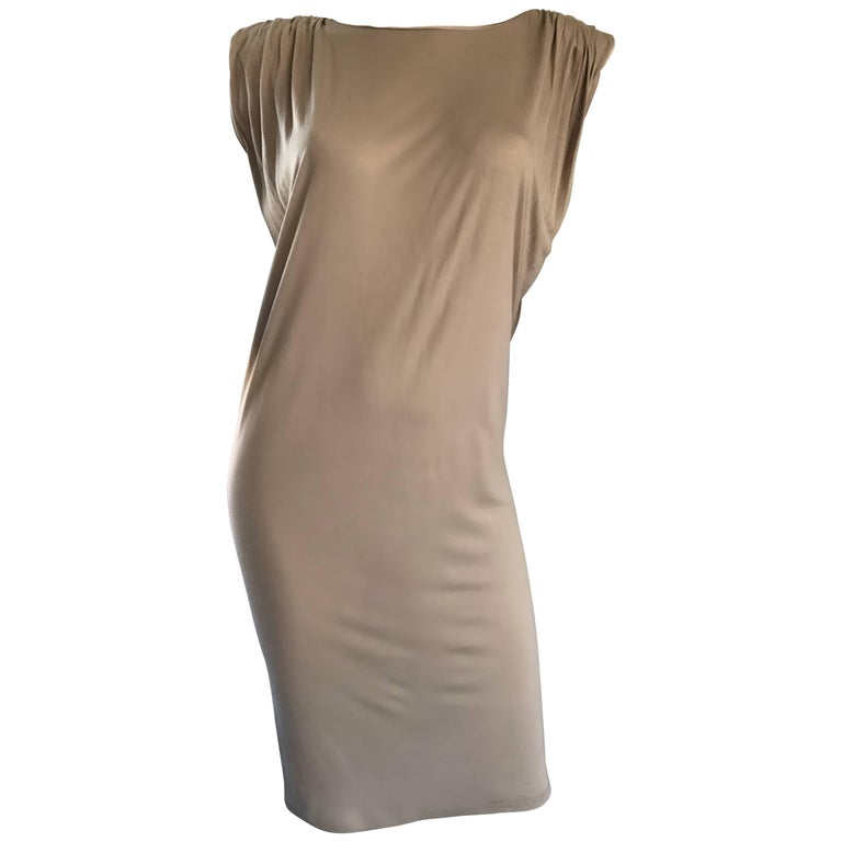 New Lanvin Alber Elbaz Taupe Strong Shoulder Taupe Silk Avant Garde Dress NWT  For Sale