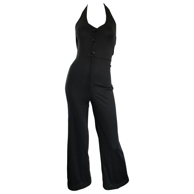 1970s Sexy Black Jersey Flare Leg Bell Bottom 70s Vintage Disco Halter Jumpsuit