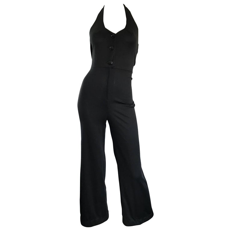 1970s Sexy Black Jersey Flare Leg Bell Bottom 70s Vintage Disco Halter Jumpsuit For Sale