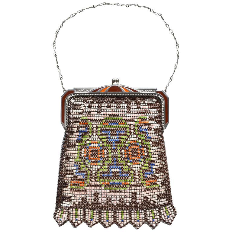 1920s Whiting and Davis Colorful Mesh Bag For Sale
