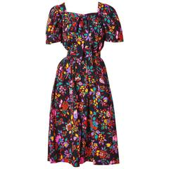Yves Saint Laurent  Colorful Floral Pattern Ensemble