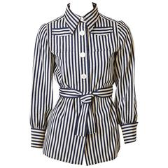 Ognibene Zendman Roma Striped Belted Blouse !970's