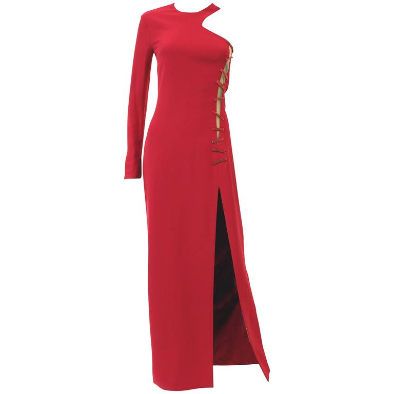 Versace Red Crystal-Embellished Silk-Cady Gown