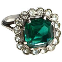 Emerald Glass Sterling French Paste Cocktail Ring