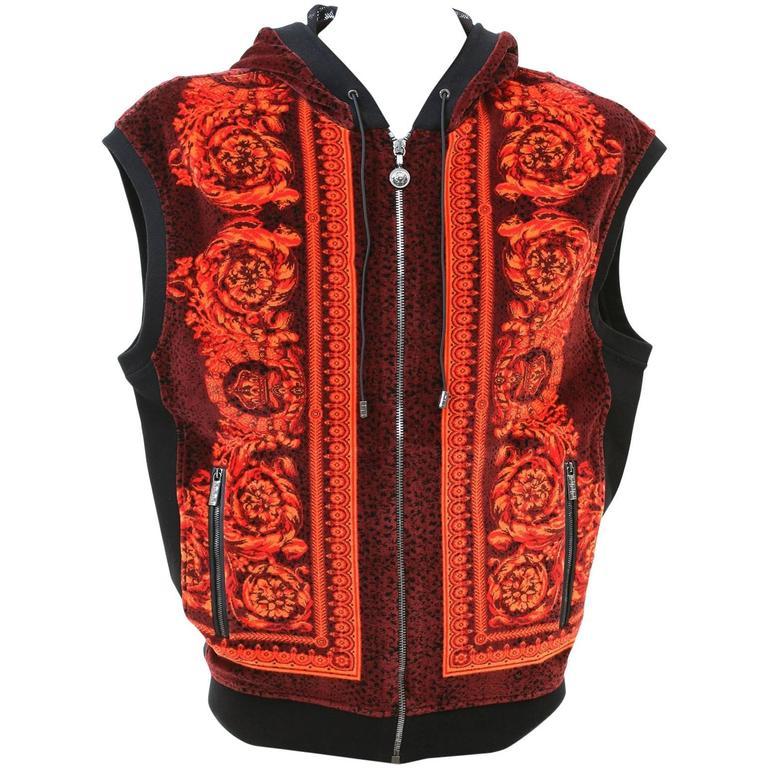 Versace Baroque Printed Velvet Sleeveless Hooded Jacket