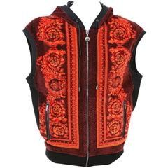 Versace Baroque Printed Velvet Sleeveless Hooded Jacket