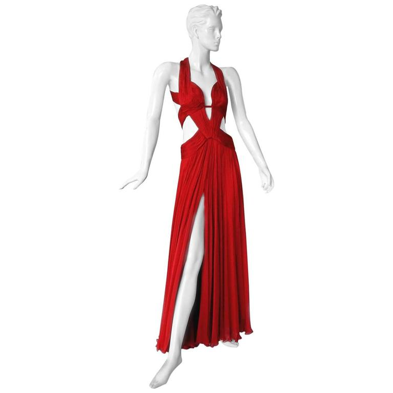 Roberto Cavalli Red Cut-Out Hollywood Red Carpet Gown