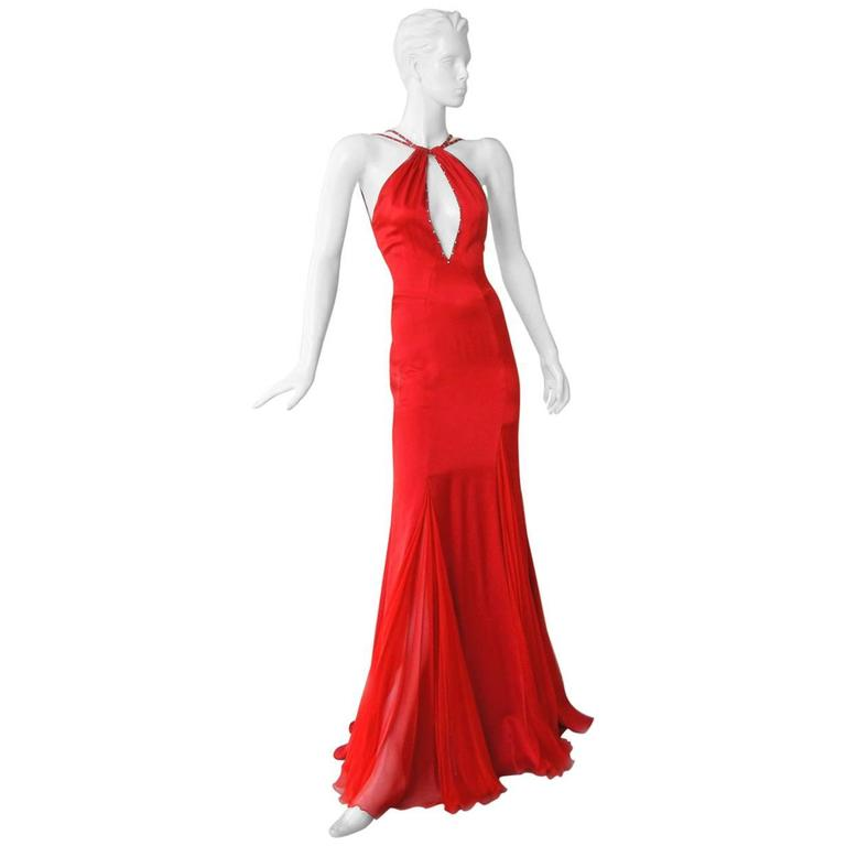 Versace Sharon Stone Red Silk Bias Cut Gown worn on the Red Carpet