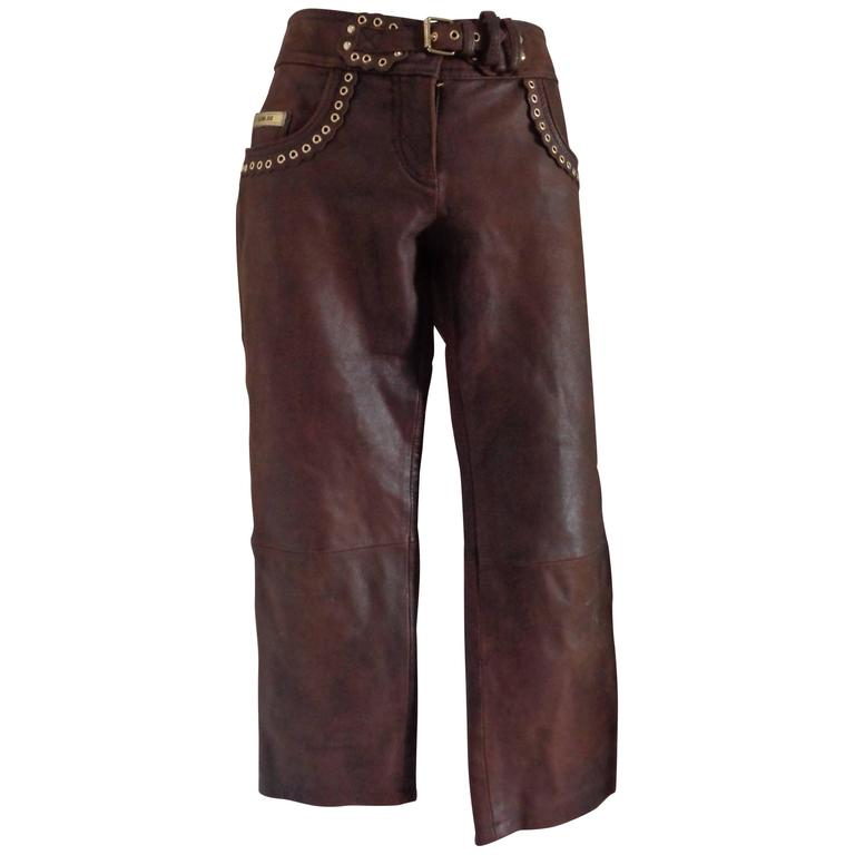 Moschino Brown Leather Pants For Sale