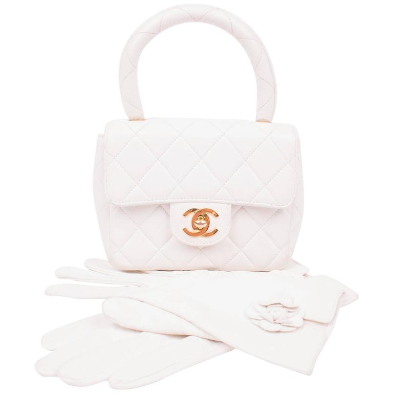 3ca4a4808e10d8 Chanel Micro Mini Kelly Flap Bag Vintage - off-white +leather gloves For  Sale